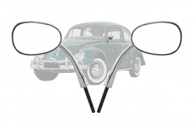 Espelho Retrovizor Fusca Preso a Coluna (Dobradiça) (Aluminio Polido) Par