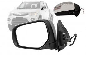 Espelho Elétrico da L200 Triton 14/... Cromado com Recolhimento e Pisca Lado Esquerdo