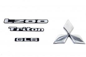 KIT EMBLEMA L200 TRITON GLS RESINADOS (4 PEÇAS)