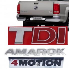 Kit Emblema Amarok Tdi 4 Motion Cromado 10/15 3 Peças
