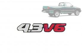 Emblema '4.3 V6' da S10 Blazer 01/... Prata
